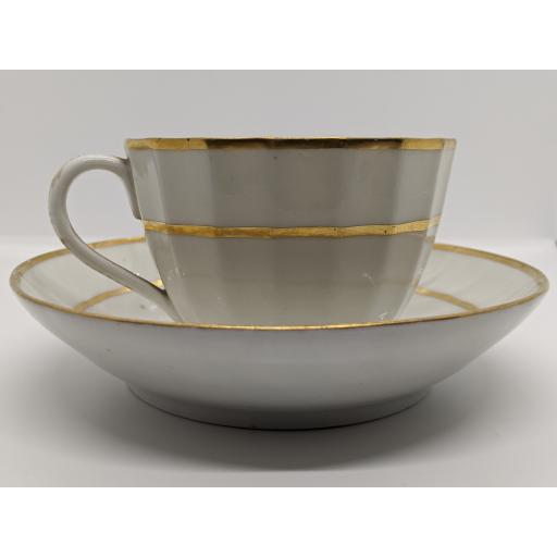New Hall faceted teacup and saucer c 1800