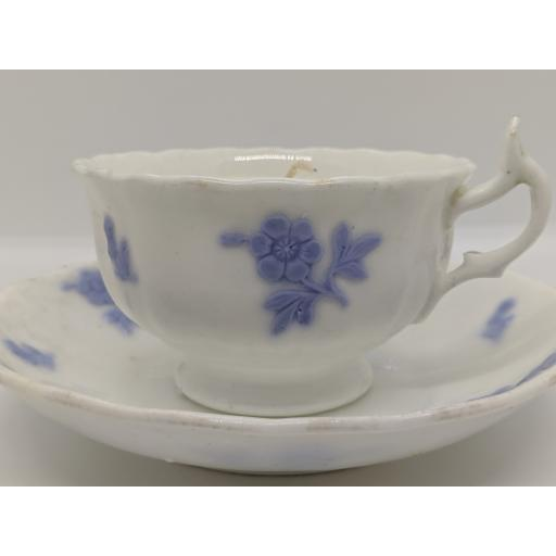 Staffordshire teacup and saucer, lilac sprig design c 1820