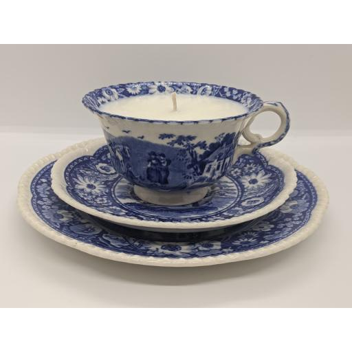 Cauldon Potteries ltd, blue and white 'Nature' series tea trio c 1930