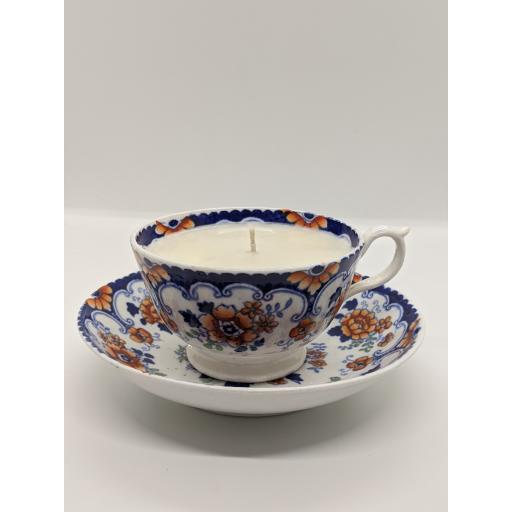 Staffordshire 'Imari' teacup and saucer c 1840