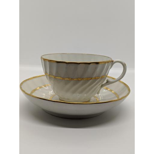 New Hall wrythen fluted teacup and saucer c 1800