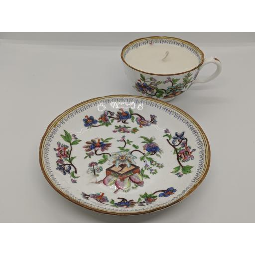 Coalport 'chinoiserie' teacup and saucer c 1850