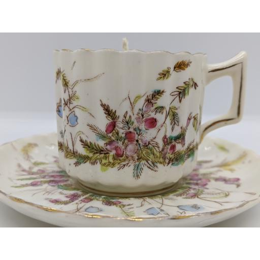 Victorian fluted coffee cup and saucer c 1880