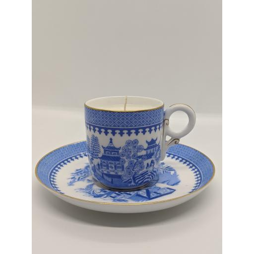 Worcester chinoiserie coffee cup and saucer c 1909