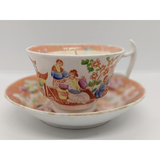 Staffordshire 'chinoiserie' London shape teacup and saucer c 1814