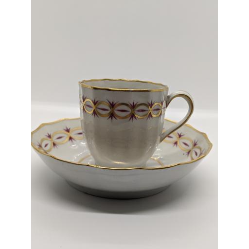 New Hall faceted coffee cup and saucer c 1785