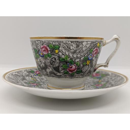 Crown Staffordshire Arts & Crafts teacup and saucer c 1906