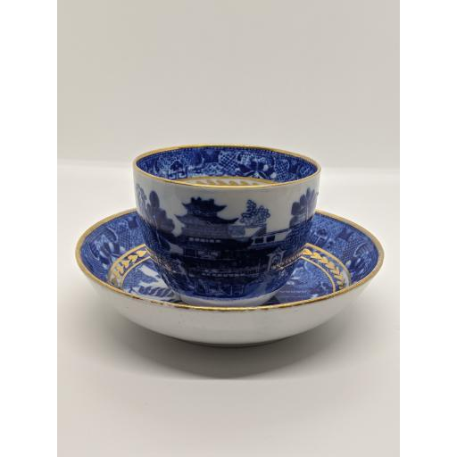 Spode blue and white tea bowl and saucer c 1785