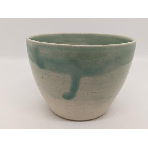 Sea green stoneware bowl by Louise Tomlins (small), bespoke filled with hand poured candle (2)