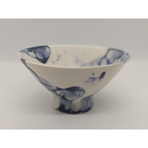 Conical footed bubble porcelain bowl, in blue by Anne Richards (no 1a), bespoke filled with hand poured candle