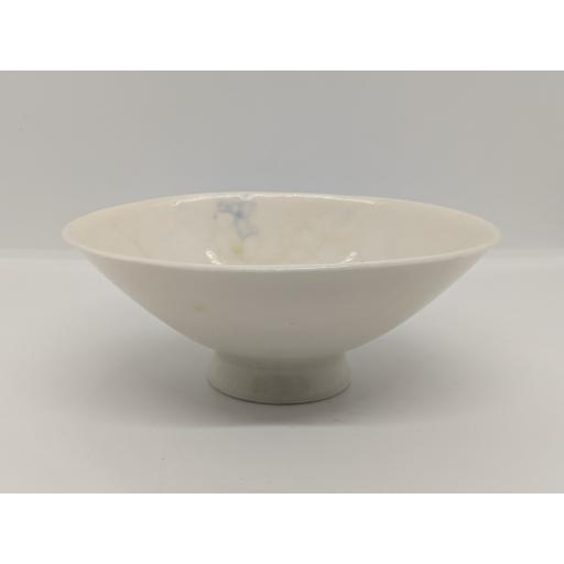 Conical footed bubble crackle glaze porcelain bowl, in ochre by Anne Richards, bespoke filled with hand poured candle