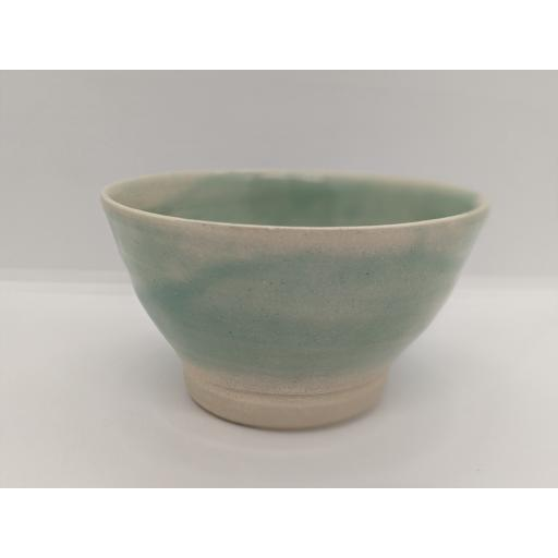 Sea green stoneware bowl by Louise Tomlins (small), bespoke filled with hand poured candle