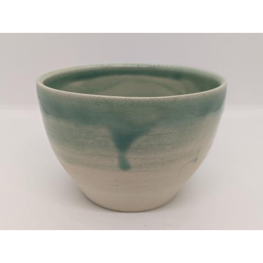 Sea green stoneware bowl by Louise Tomlins (small), bespoke filled with hand poured candle (3)