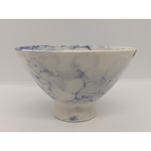 Conical footed bubble porcelain bowl, in blue by Anne Richards, bespoke filled with hand poured candle