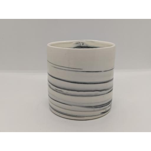 Marbled porcelain cylinder, in blue and black on white by Anne Richards, bespoke filled with hand poured candle