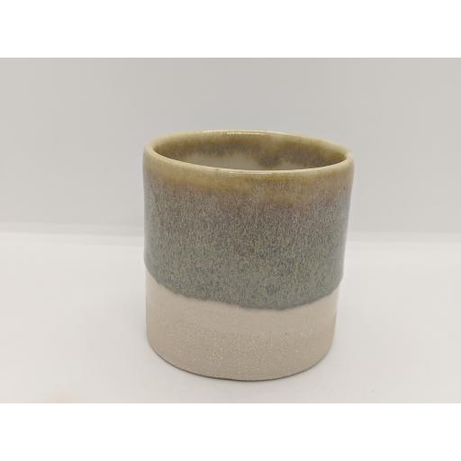 Mixed glaze stoneware cylinder by Louise Tomlins (1), bespoke filled with hand poured candle