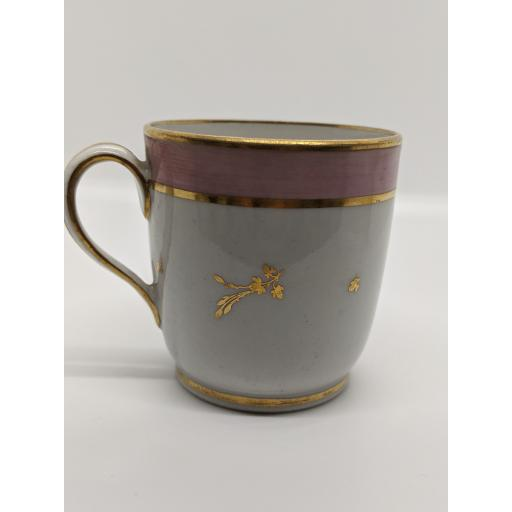 New Hall porcelain coffee cup with a pink band border c 1784-7