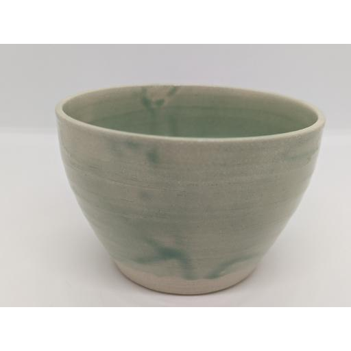 Sea green stoneware bowl by Louise Tomlins (small), bespoke filled with hand poured candle (1)