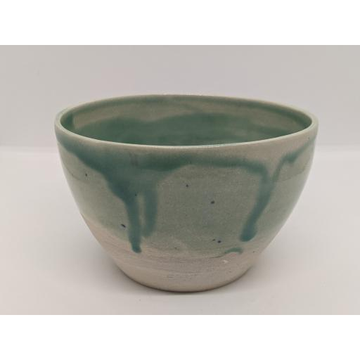 Sea green stoneware bowl by Louise Tomlins, bespoke filled with hand poured candle (3)