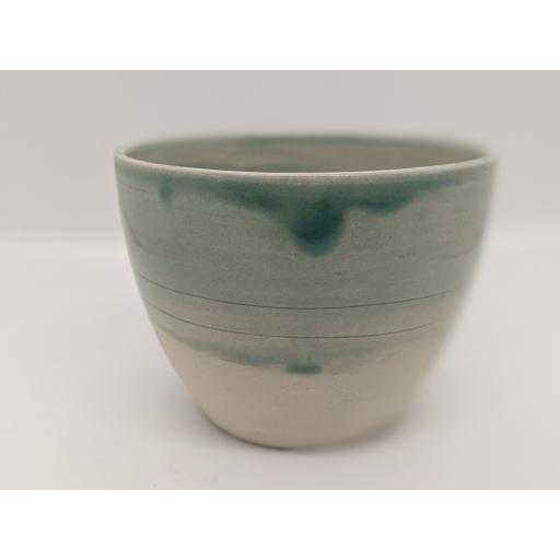 Sea green stoneware bowl by Louise Tomlins (small), bespoke filled with hand poured candle (4)