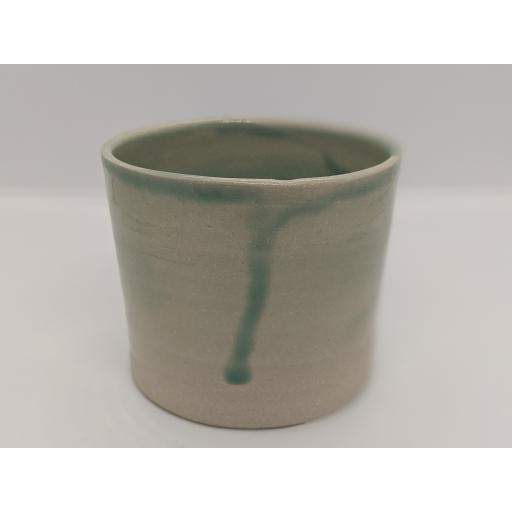 Sea green stoneware cylinder by Louise Tomlins, bespoke filled with hand poured candle
