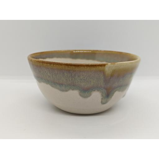 Mixed glaze stoneware bowl by Louise Tomlins, bespoke filled with hand poured candle