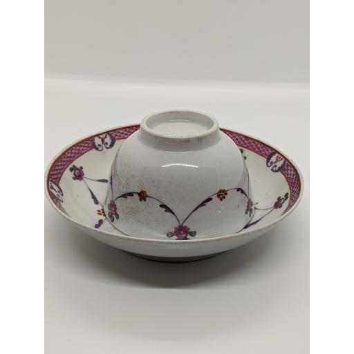 New Hall tea bowl and saucer c 1784