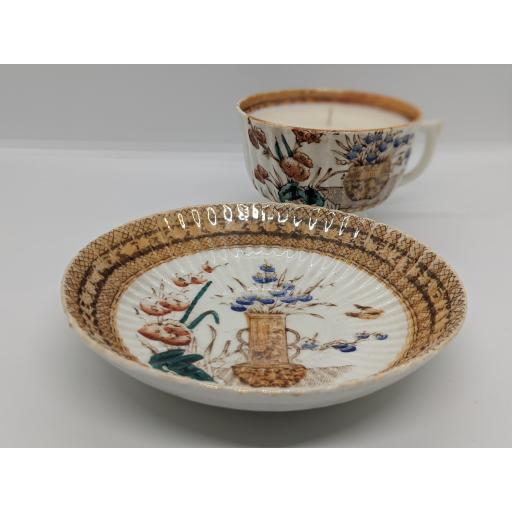 Victorian Staffordshire chinoiserie teacup and saucer c 1840