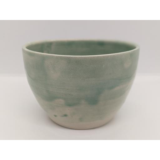 Sea green stoneware bowl by Louise Tomlins, bespoke filled with hand poured candle (2)