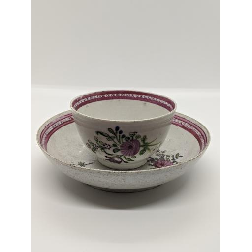 New Hall tea bowl and saucer c 1783