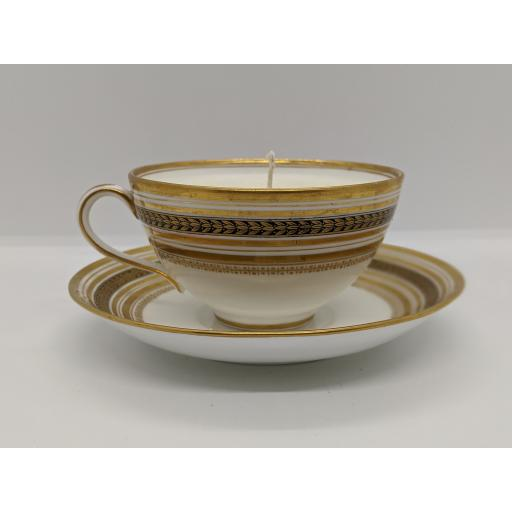 Minton gold and white teacup and saucer c 1918