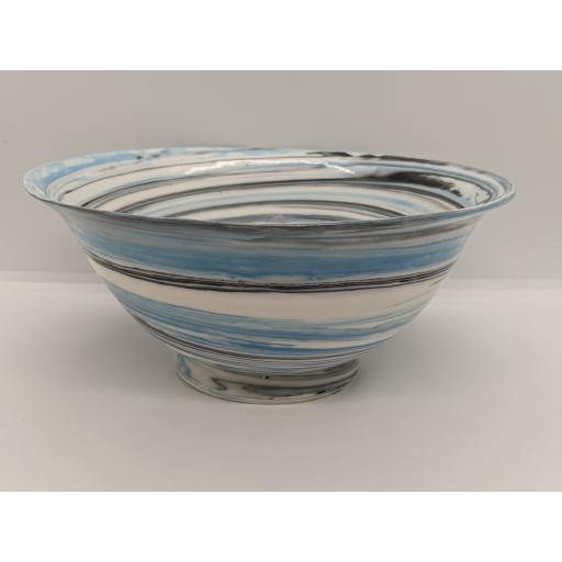 Large marbled porcelain bowl, in blue and black on white by Anne Richards, bespoke filled with hand poured candle
