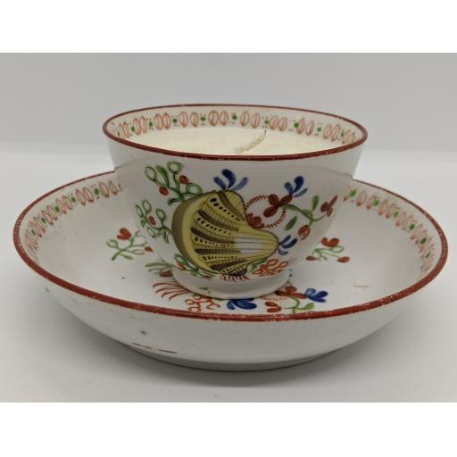 New Hall porcelain 'shell' tea bowl cup and saucer c 1790