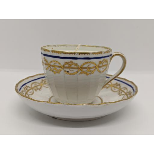 Derby faceted 'Hamilton flute' coffee cup and saucer c 1795