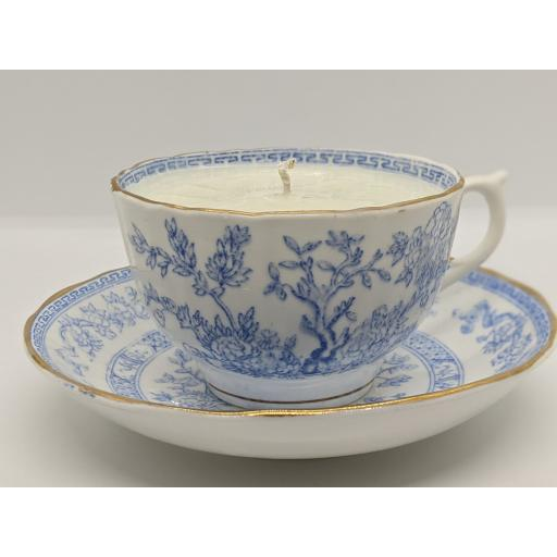 Thomas Wood and Sons, Victorian pale blue and white teacup and saucer 1896-7