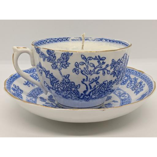 Thomas Wood and Sons, Victorian dark blue and white teacup and saucer 1896-7