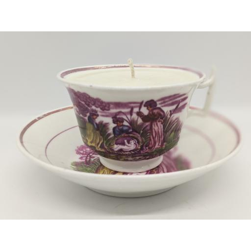 Sunderland lustre, London shape teacup and saucer c 1817