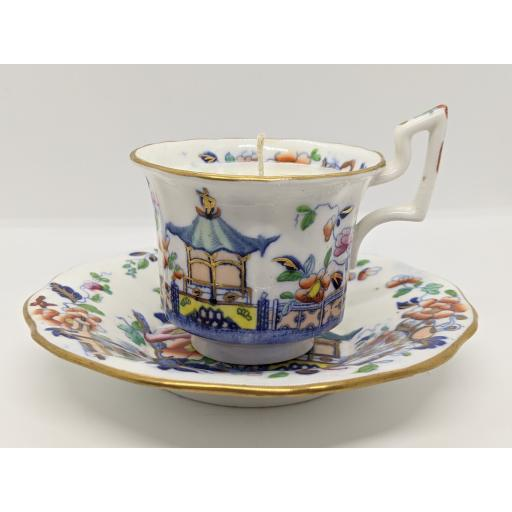 Staffordshire chinoiserie coffee cup and saucer c 1825