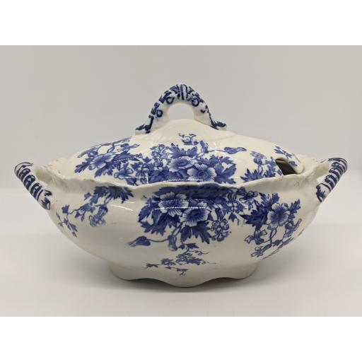 Victorian blue and white lidded sauce tureen c 1878
