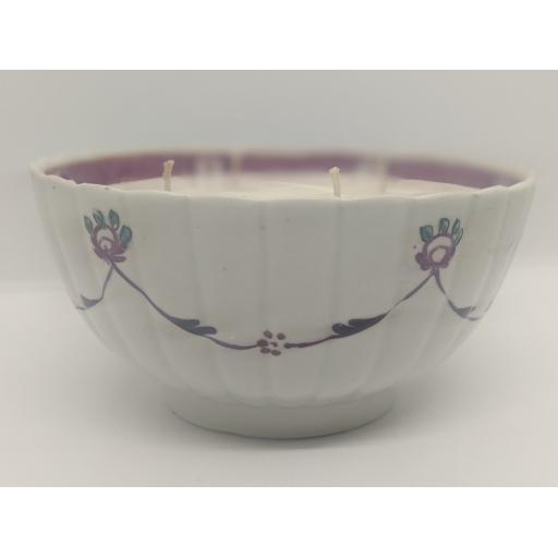 New Hall porcelain ribbed slop bowl c 1780