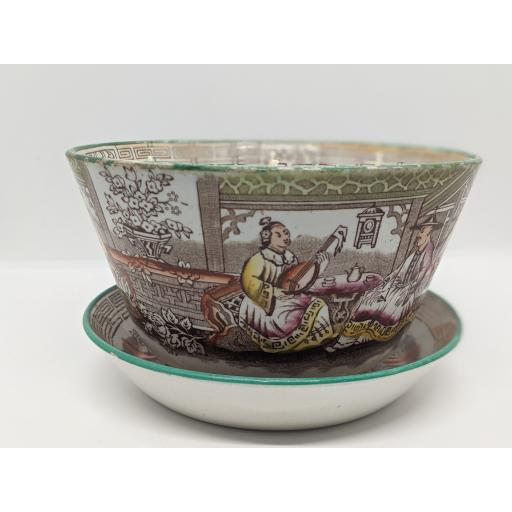 Staffordshire chinoiserie slop bowl on plate c 1840