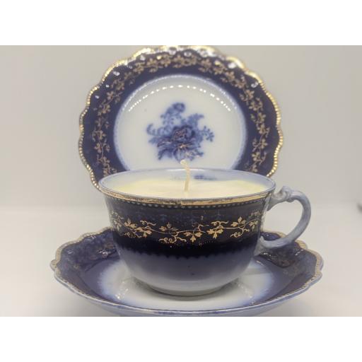 Victorian Flow Blue tea trio c 1880