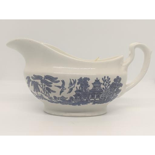 Vintage blue and white 'Willow' pattern gravy boat c 1930
