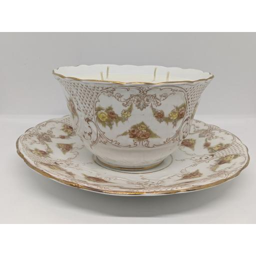 Victorian Staffordshire slop bowl and plate c 1890