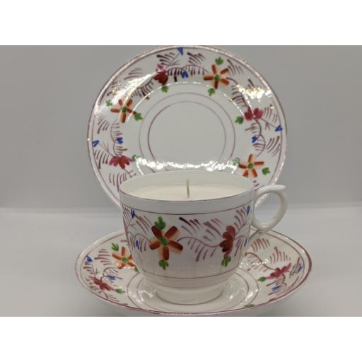 Victorian Sunderland lustre tea trio c 1850