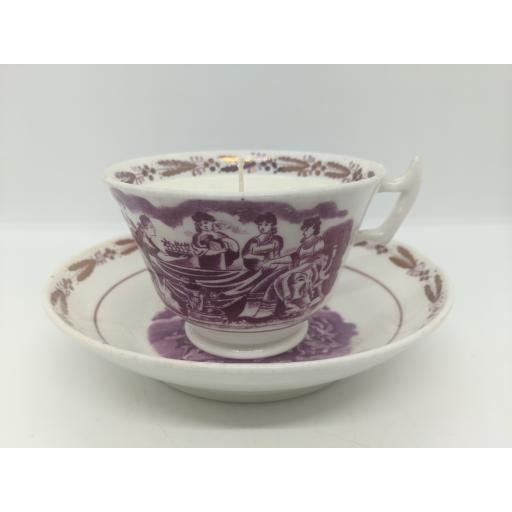 Sunderland lustre teacup and saucer c 1814