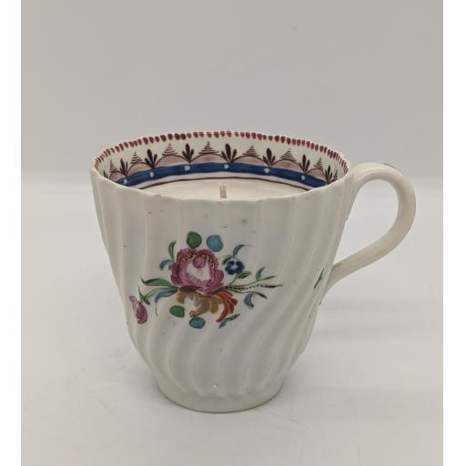 New Hall wrythen fluted coffee cup c 1787