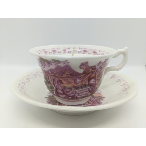 Sunderland bat printed teacup and saucer c 1820